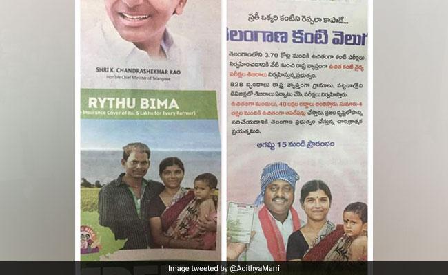 Telangana Government Ad Shows Woman With Wrong Man As Husband