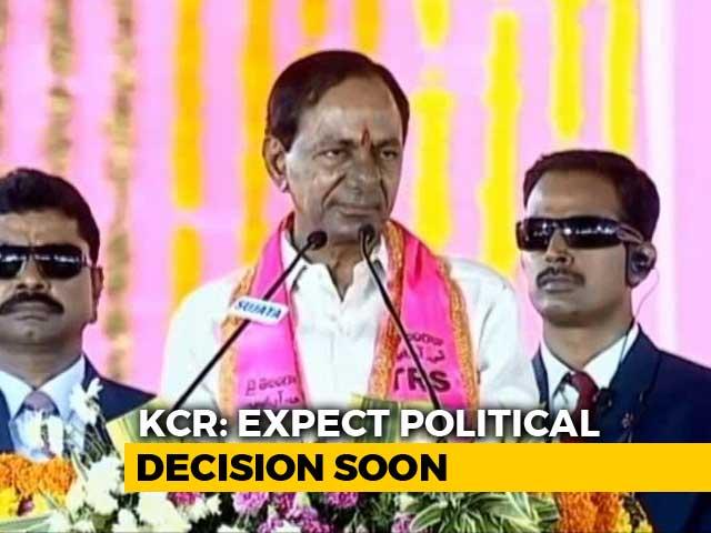 "Video : No Word On Telangana Polls, KCR Talks ""Slavery, Self-Respect"""