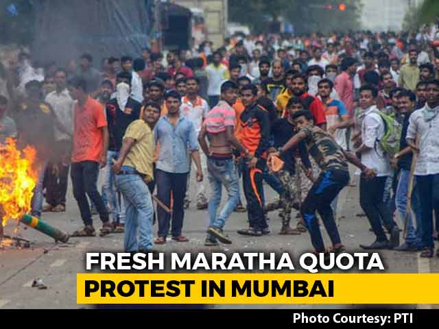 "Video : Maratha Protesters Plan <i>""Jail Bharo""</i> In Mumbai Today Over Quota Demands"
