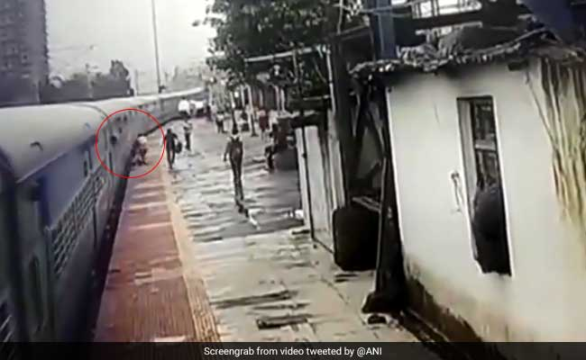 Watch: In The Nick Of Time Mumbai Man Saved From Falling On Train Tracks