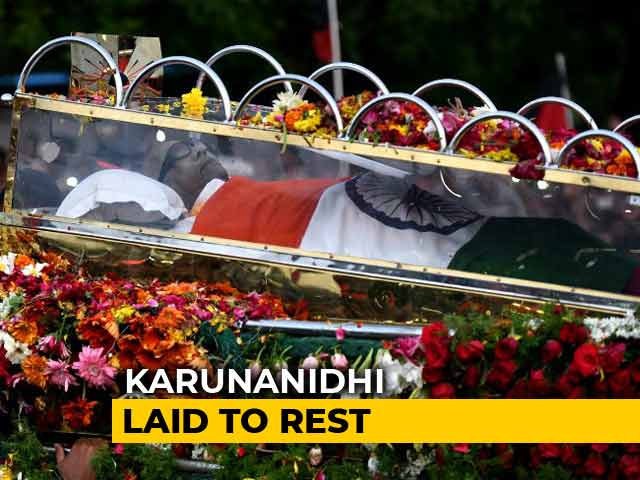 Video : Karunanidhi Buried At Marina Beach: End Of An Era In Tamil Nadu Politics