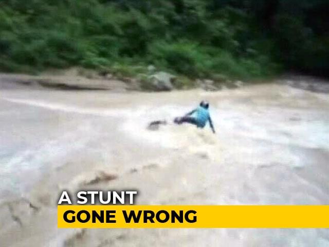 Video : Biker's Narrow Escape After Stunt Across Flowing Waterfall In Uttarakhand