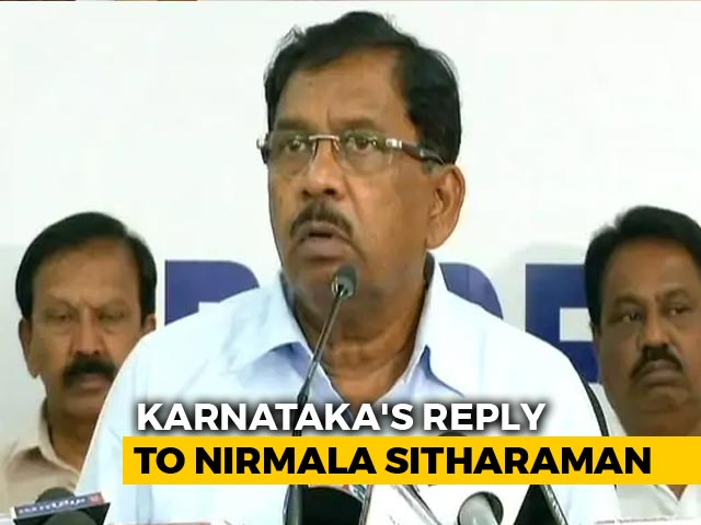 "Video : Karnataka's Stinging Reply To Nirmala Sitharaman's ""Unbelievable"" Remark"
