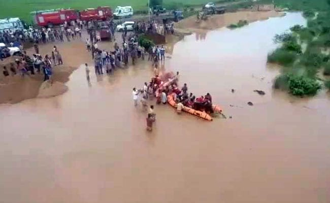 Drone Captures Rescue Of 55 From Trucks In Raging Flood Waters In Andhra