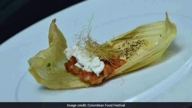 Corn Envuelto dish. Colombian food fest