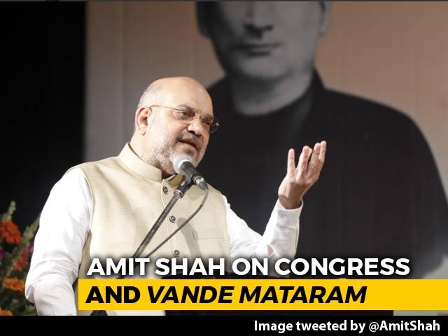 "Video : ""Congress Censoring Vande Mataram Led To India's Partition"": Amit Shah"