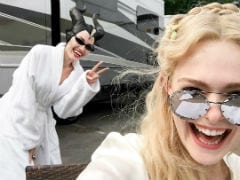 Angelina Jolie Photobombs Elle Fanning On The Sets Of Maleficent 2