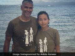 Milind Soman And Ankita Konwar Twinning In Statement Tees Couldn't Get Any Cooler