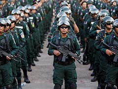 Cambodian Army Shows Off Anti-Riot Gear, Assault Rifles Before Elections