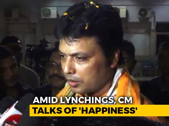 "Video : ""Wave Of Happiness In Tripura,"" Says Biplab Deb, Asked About Mob Killings"