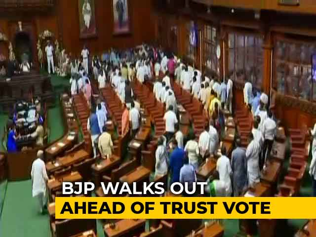 BJP Lawmakers Walk Out Of Karnataka Assembly Ahead Of Trust Vote