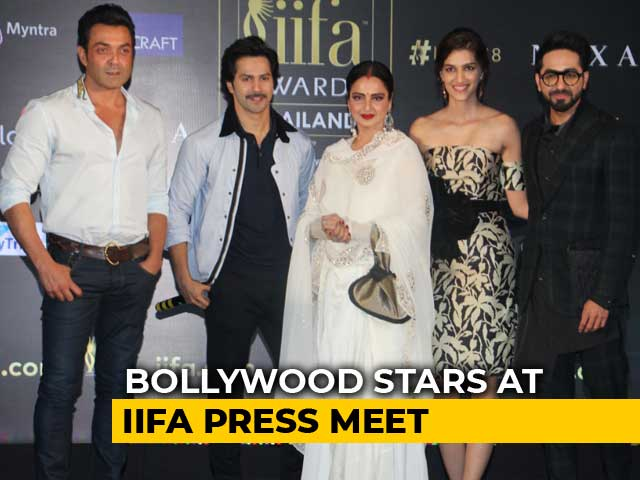 Rekha, Varun, Bobby & Kriti At IIFA Press Meet