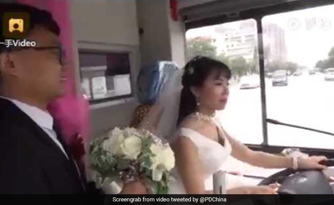 Bride Drives Bus To Wedding, Picks Groom On The Way