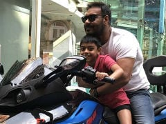 After Giving Major Gym Inspo, 7-Year-Old Yug Rides Bike With Dad Ajay Devgn