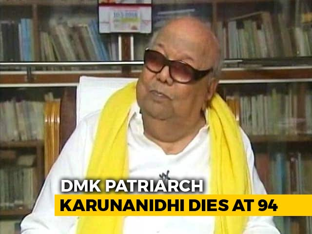 Video : DMK Patriarch M Karunanidhi, 5-Time Tamil Nadu Chief Minister, Dies At 94