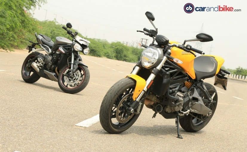 The Triumph Street Triple RS makes more power than the Ducati Monster 821
