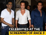 Video : Salman, Dhoni, Bobby & Others At The Screening Of <i>Race 3</i>