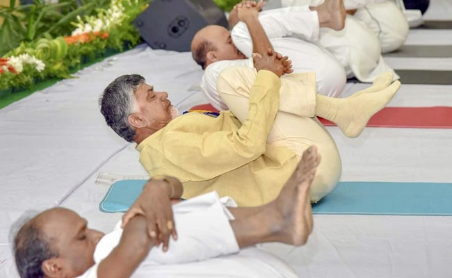 International Yoga Day: Andhra Pradesh Chief Minister Performs Asanas With Students