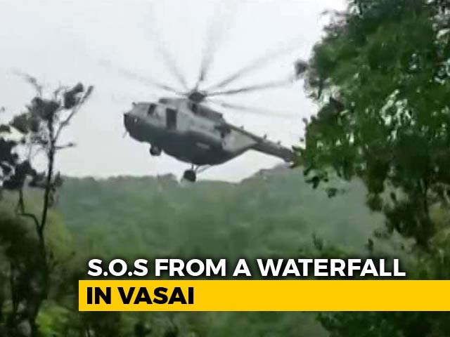 Video : Watch: Chopper Deployed For Rescuing Tourists In Middle Of Maharashtra Waterfall