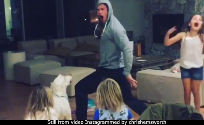 Chris Hemsworth and his kids rock out to Miley Cyrus' 'Wrecking Ball'