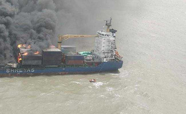 container ship fire bay of bengal