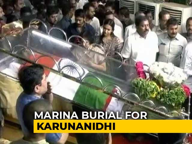 Video : Karunanidhi Burial At Chennai's Marina Beach After Court Drama