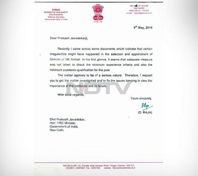 Irregularity In Iim Rohtak Lawmakers Write To Prakash Javadekar