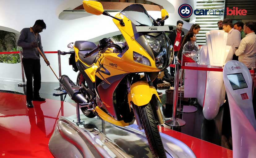 The Hero Karizma ZMR at the Auto Expo 2018