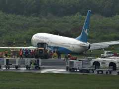 Passenger Plane Slides Off Runway In Heavy Rain