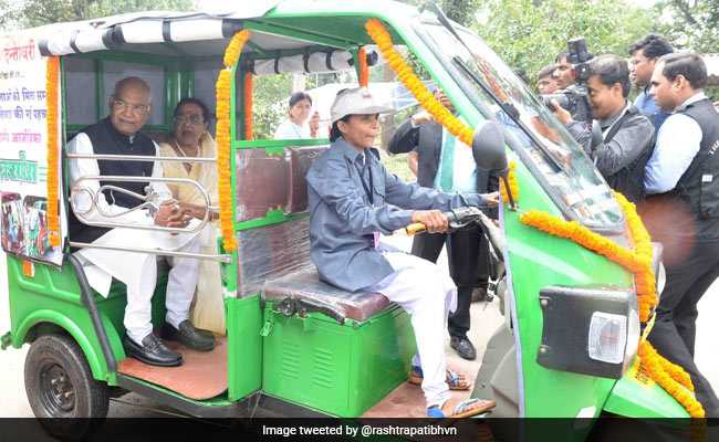 Woman Driver Takes President Kovind Around On Her E-Rickshaw