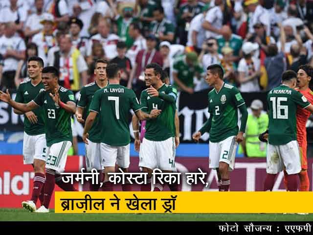 Video : FIFA विश्वकप 2018 : डिफेंडिंग चैम्पियन जर्मनी को मैक्सिको ने पीटा, ब्राज़ील को स्विटज़रलैंड से खेलना पड़ा ड्रॉ