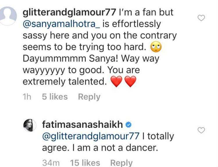 Trolled For Sharing Dance Video Fatima Sana Shaikh Shows Haters
