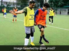 MS Dhoni Takes A Break From Cricket, Plays Football With Ishaan Khatter