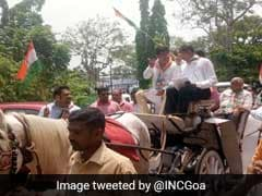 Goa Congress Leaders Travel In Horse Carriage To Protest Fuel Price Hike