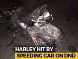 Video : Harley Rider Falls In Yamuna After Being Hit By Speeding Car, Missing