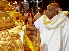 Amid Karnataka Power Tussle, HD Deve Gowda In Tirupati For 85th Birthday