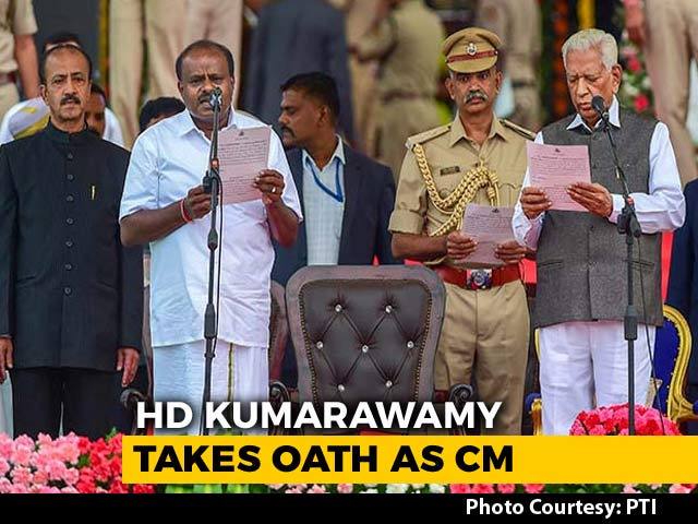 Kumaraswamy Takes Oath Amid Opposition Show Of Unity In Karnataka