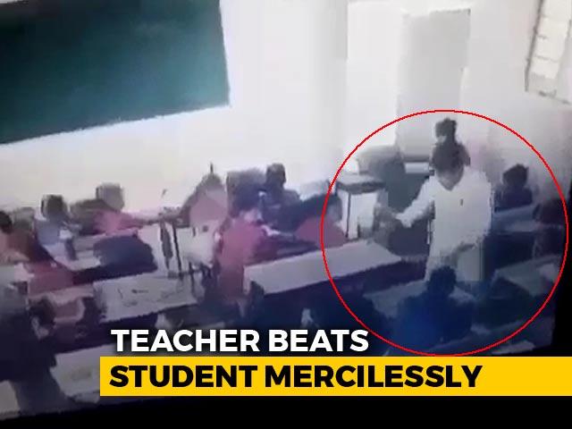 Video : Caught On Video: Rajasthan Teacher Beats Student Mercilessly, He Fainted