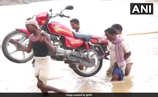Incomplete Bridge Forces Jharkhand Villagers To Cross River On Foot