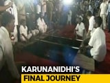 Video : Karunanidhi Buried At Chennai's Marina Beach, Next To Mentor Annadurai