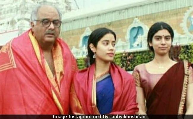 Janhvi And Khushi Visit Tirumala Temple With Dad Boney Kapoor