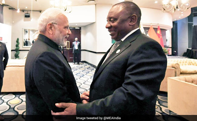 PM Modi Gets Warm Welcome From South African President Cyril Ramaphosa
