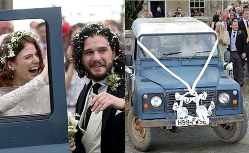 GoT stars Kit Herrington and Rose Leslie leave their wedding in a Land Rover Defender 90