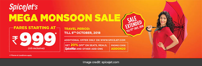 SpiceJet's Sale Extended Till July 15, Offers Flight Tickets From Rs. 999