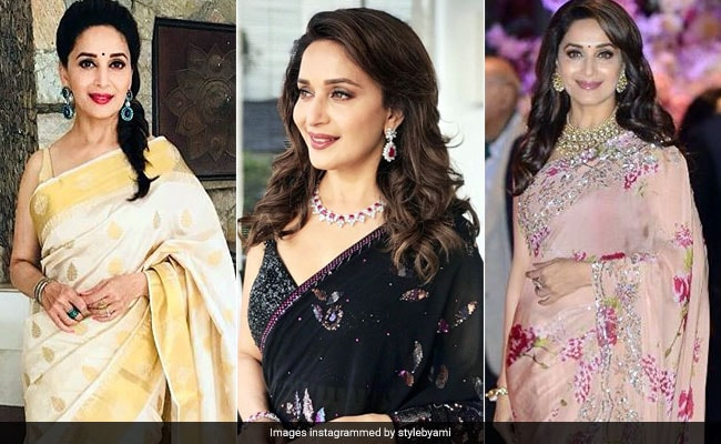 6c16ef186f6661 When Madhuri Dixit Notched Up Her Saree Game In 3 Stylish Looks