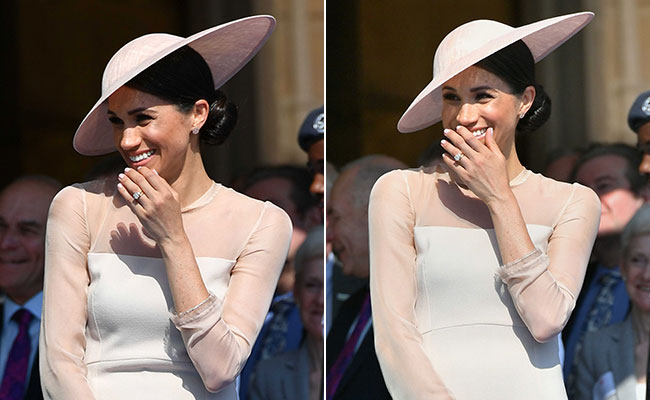Meghan Markle Makes First Post-Wedding Appearance Dressed In Blush