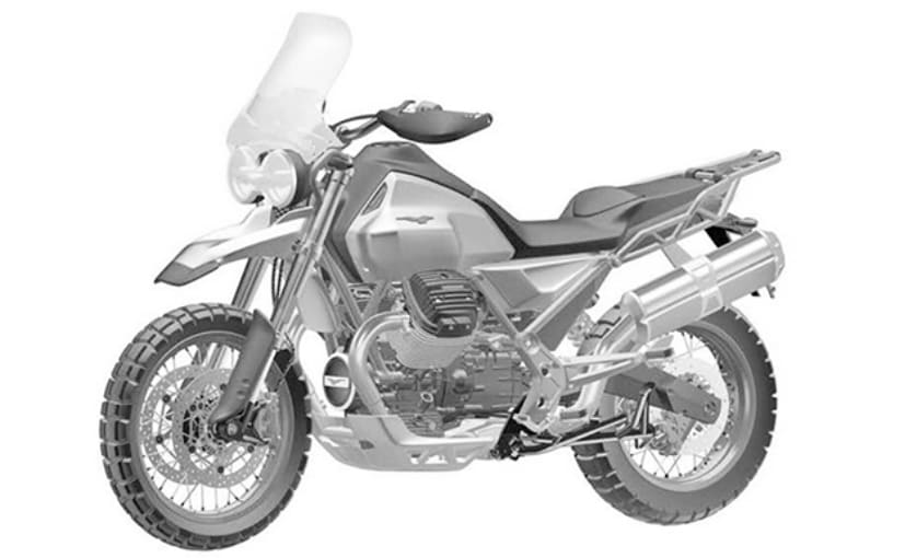Piaggio has filed a design patent for the Moto Guzzi V85 adventure tourer