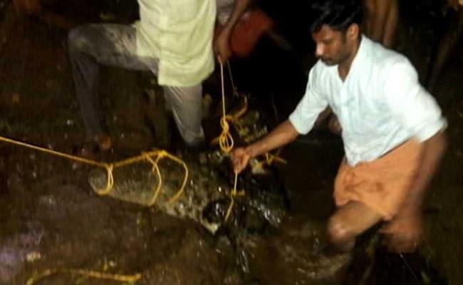 केरल में बाढ़ का पानी उतरने के बाद जब घर पहुंचा शख्स तो मिला विशालकाय मगरमच्छ और फिर...
