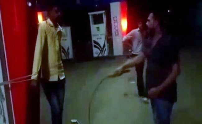 On Video: Petrol Pump Owner Ties Employee, Whips Him For Being Absent