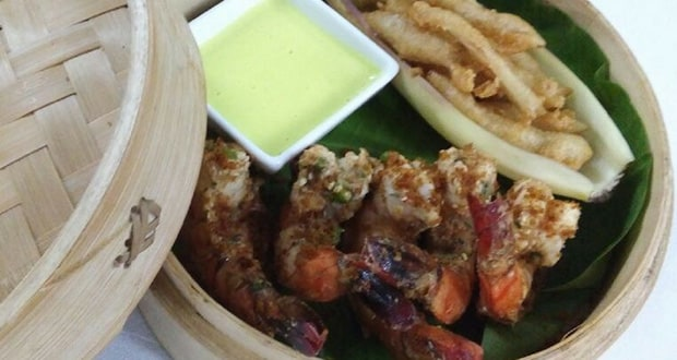 Banana Leaf wrapped Steamed Prawns
